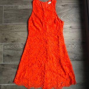 Sandro orange lace short dress high quality size 2